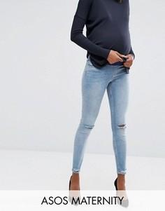 Джинсы скинни для беременных с посадкой под животом и рваной отделкой на коленях и щиколотках ASOS Maternity Lisbon - Синий