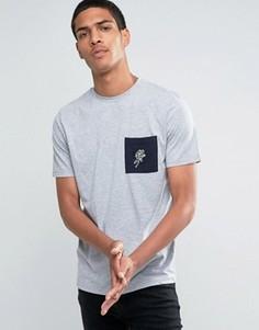 Футболка с контрастными рукавами и розой на кармане Hoxton Denim - Синий