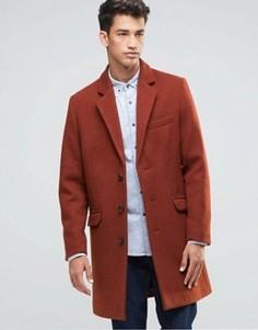 Красно-бурое шерстяное пальто ASOS - Красный
