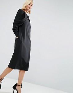 Платье миди с перекрученным дизайном ASOS WHITE - Черный