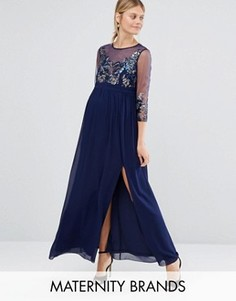 Платье макси с полупрозрачной отделкой Little Mistress Maternity - Темно-синий
