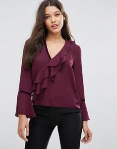 Блузка с рюшами и бархатной отделкой ASOS - Красный