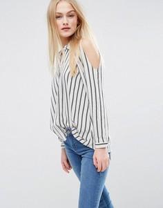 Рубашка в полоску с открытыми плечами ASOS - Мульти