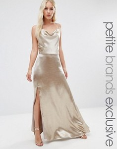 Платье макси на бретельках с высоким разрезом Jarlo Petite - Серебряный