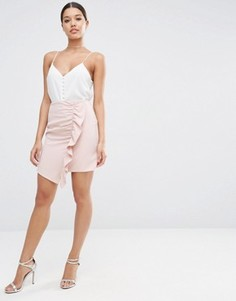 Мини юбка‑трапеция с асимметричной оборкой ASOS - Розовый