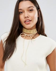 Золотистое кружевное ожерелье‑чокер с завязкой Johnny Loves Rosie - Золотой