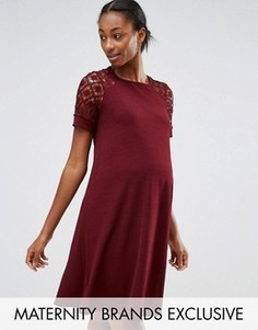 Свободное платье для беременных с кружевными вставками Bluebelle Maternity - Красный