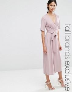 Комбинезон с запахом спереди и завязкой на талии True Decadence Tall - Розовый