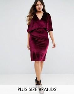 Бархатное платье миди размера плюс Club L - Красный