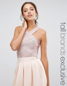 Бандажное боди с перекрестной горловиной True Decadence Tall - Розовый