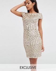 Платье миди с короткими рукавами и узором из пайеток TFNC - Золотой
