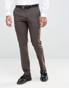 Зауженные фланелевые брюки c отворотами Noose & Monkey - Коричневый