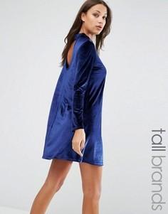 Бархатное платье Brave Soul Tall - Темно-синий