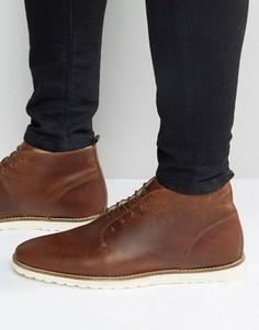 Коричневые кожаные ботинки с подкладкой из искусственной овчины ASOS - Коричневый