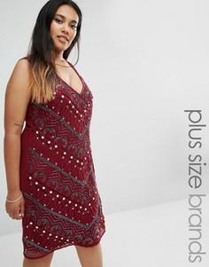 Декорированное цельнокройное платье Lovedrobe Plus - Красный