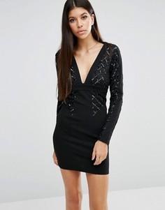 Сетчатое облегающее платье с пайетками NaaNaa - Черный