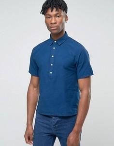 Рубашка с короткой планкой и короткими рукавами Bethnals Alex - Темно-синий