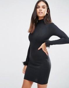 Облегающее платье с высоким воротом AX Paris - Черный
