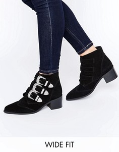 Замшевые ботинки для широкой стопы с пряжками ASOS REGINA - Черный