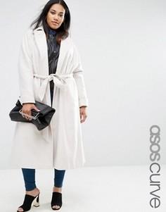 Трапециевидное пальто миди с поясом ASOS CURVE - Бежевый