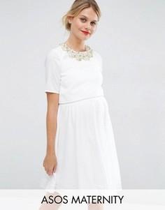 Платье мини для беременных с кроп‑топом и отделкой ASOS Maternity - Белый