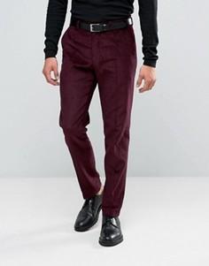 Бордовые вельветовые брюки слим ASOS - Фиолетовый