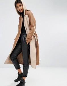Полушерстяное пальто с контрастной трикотажной подкладкой ASOS - Коричневый
