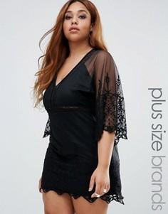 Платье с широкими кружевными рукавами Boohoo Plus Boutique - Черный