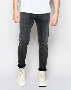 Эластичные облегающие джинсы черного оттенка Weekday Friday - Черный