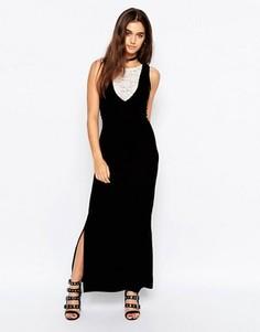 Бархатное платье макси с кружевной вставкой Motel Bella - Черный