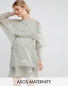 Платье миди с кроп-топом и декоративной 3D-отделкой ASOS Maternity - Серый