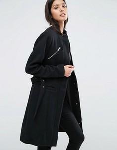 Приталенное пальто с молниями спереди Y.A.S Alia - Черный