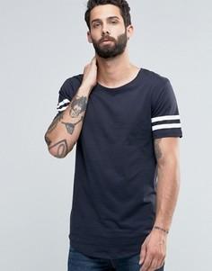 Длинная футболка с полосками на рукавах и асимметричным краем Only & Sons - Темно-синий