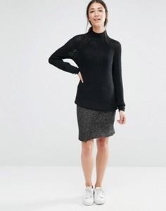 Трикотажная юбка с разрезом спереди Vila - Серый