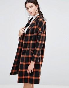 Черно-оранжевое пальто в клетку Helene Berman Ema - Оранжевый