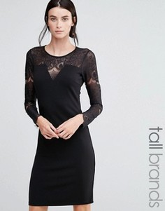 Платье с кружевом на топе Y.A.S Tall Cary - Черный