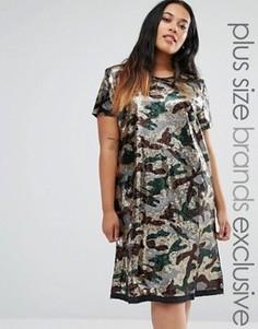 Oversize-платье с камуфляжным принтом и отделкой пайетками Liquor & Poker Plus - Зеленый