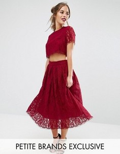 Короткое приталенное платье для выпускного 2 в 1 из кружева True Decadence Petite - Красный