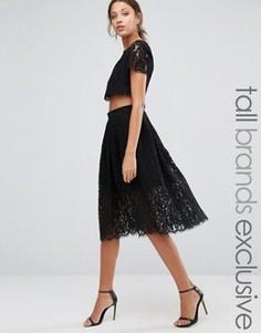 Кружевное короткое приталенное платье для выпускного True Decadence Tall - Черный