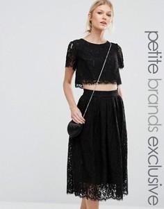 Короткое приталенное платье для выпускного 2 в 1 из кружева True Decadence Petite - Черный