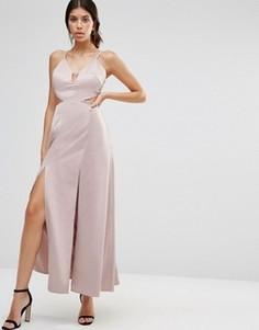 Атласное платье-комбинация макси с разрезами до бедра True Decadence - Розовый