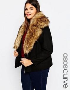 Шерстяная куртка с oversize-воротником из искусственного меха ASOS CURVE - Черный