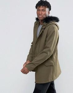 Полушерстяная куртка D-Struct - Зеленый