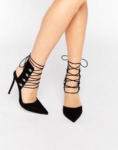 Остроносые туфли на каблуке и шнуровке ASOS POSER - Черный