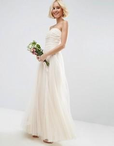 Сетчатое платье‑бандо макси со сборками ASOS BRIDAL - Белый