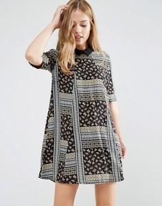 Платье-трапеция с воротником и принтом BCBGeneration - Мульти