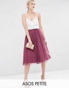 Многослойная юбка из тюли для выпускного ASOS PETITE - Розовый