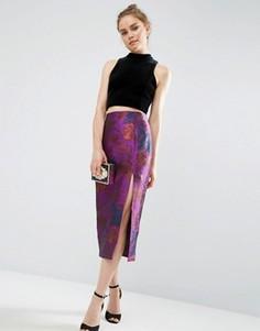 Жаккардовая юбка-карандаш с цветочным узором и разрезом ASOS Premium - Фиолетовый