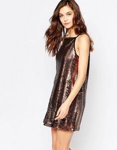 Цельнокройное платье металлик Madam Rage - Золотой