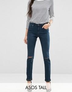 Темные джинсы бойфренда с прорехами ASOS TALL Kimmi - Синий
